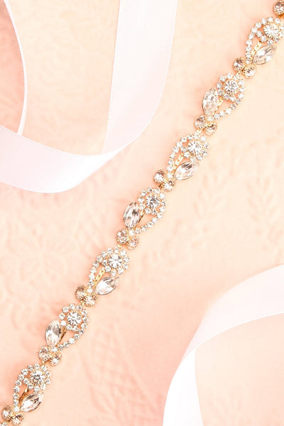 Alita Gold Ribbon Belt w/ Crystal Ornament | Boudoir 1861 flat close-up