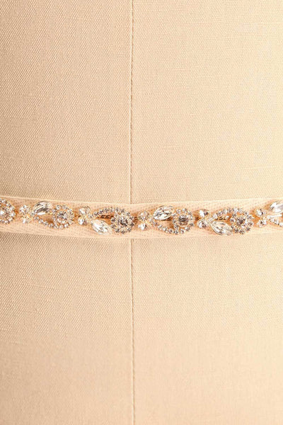 Alita Gold Ribbon Belt w/ Crystal Ornament | Boudoir 1861 close-up