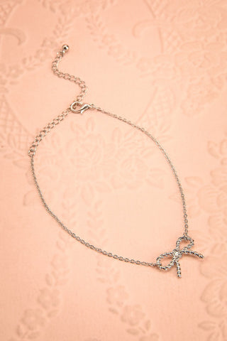 Allium Argent - Silver chain ankle strap with bow