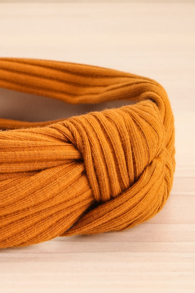 Almere Cayenne Yellow Ribbed Knit Headband w Knot close-up | La Petite Garçonne