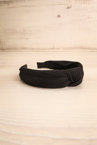 Almere Pepper Black Ribbed Knit Headband w Knot flat view | La Petite Garçonne