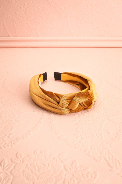 Alpestre Ochre Yellow Velvet Knotted Headband flat view | Boutique 1861
