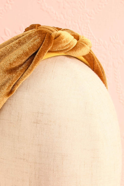 Alpestre Ochre Yellow Velvet Knotted Headband close-up | Boutique 1861
