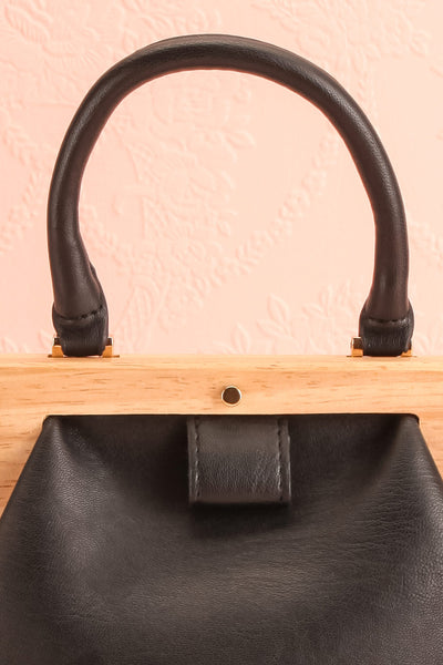 Alpha Black Clutch w/ Removable Shoulder Strap | Boutique 1861 front close-up