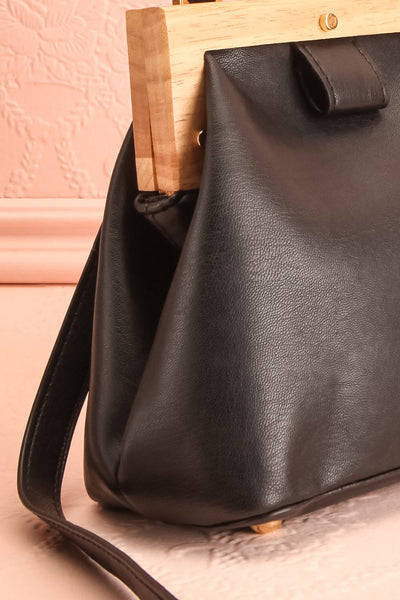 Alpha Black Clutch w/ Removable Shoulder Strap | Boutique 1861 side detail