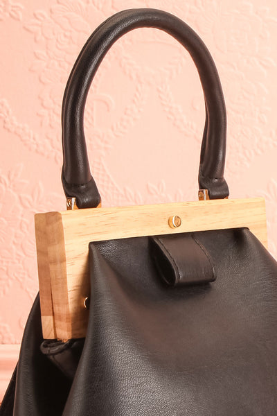 Alpha Black Clutch w/ Removable Shoulder Strap | Boutique 1861 side close-up