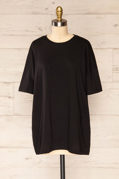 Alta Black Oversized Cotton T-Shirt | La petite garçonne front view