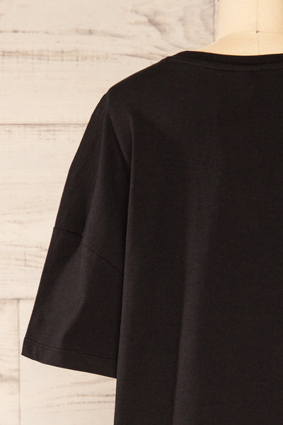 Alta Black Oversized Cotton T-Shirt | La petite garçonne back close up