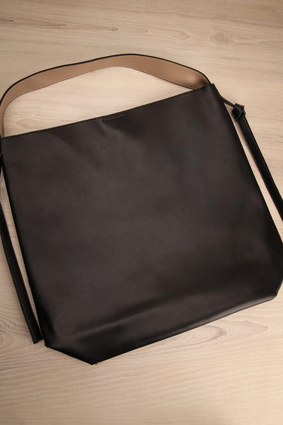 Alterum Café Black & Beige Faux-Leather Tote Bag | La Petite Garçonne 1