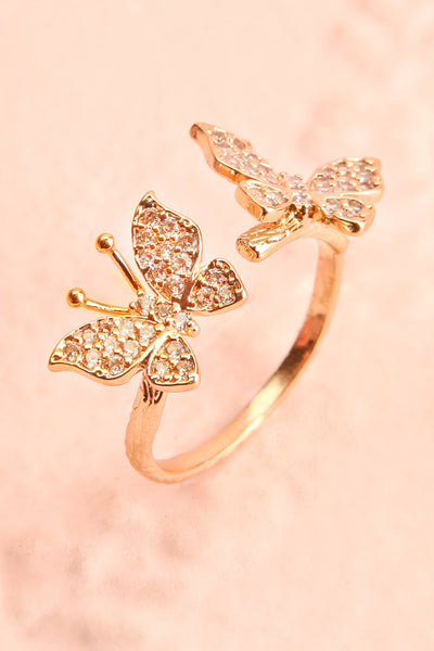 Altesco Open Golden Ring w Crystal Butterflies close-up | Boutique 1861