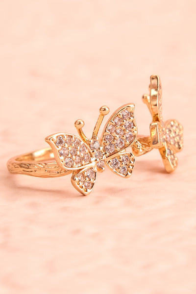 Altesco Open Golden Ring w Crystal Butterflies side close-up | Boutique 1861