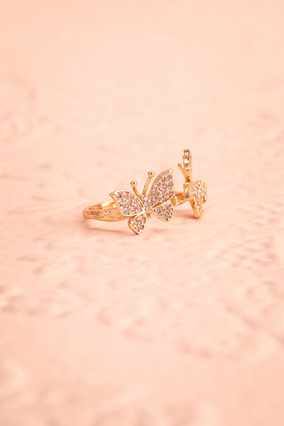 Altesco Open Golden Ring w Crystal Butterflies side view | Boutique 1861
