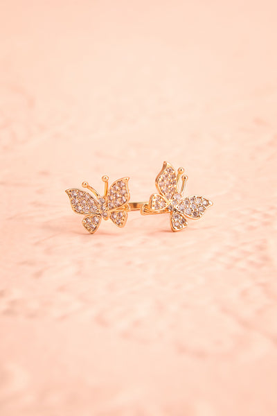 Altesco Open Golden Ring w Crystal Butterflies flat view | Boutique 1861