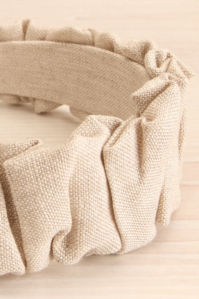 Altus Beige Scrunchie Texture Headband | La petite garçonne flat close-up