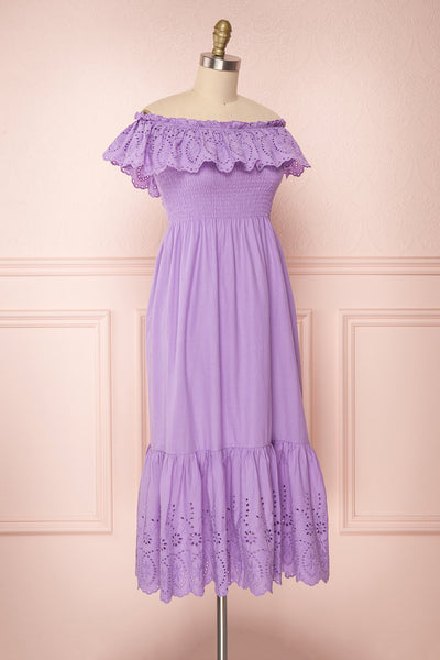 Amaa Lavande Purple Off-Shoulder Midi A-Line Dress | Boutique 1861 4
