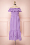 Amaa Lavande Purple Off-Shoulder Midi A-Line Dress | Boutique 1861