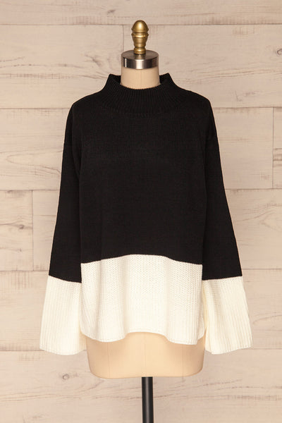 Barisci Black & White Block Knit Sweater front view | La Petite Garçonne