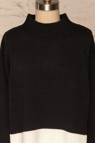 Barisci Black & White Block Knit Sweater front close up | La Petite Garçonne