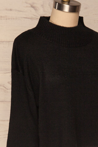 Barisci Black & White Block Knit Sweater side close up | La Petite Garçonne