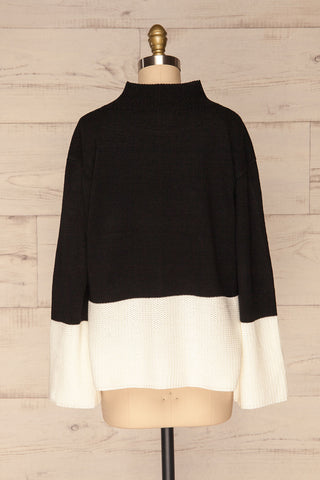 Barisci Black & White Block Knit Sweater back view | La Petite Garçonne