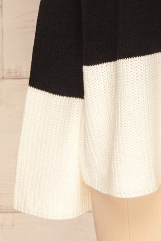 Barisci Black & White Block Knit Sweater sleeve close up | La Petite Garçonne