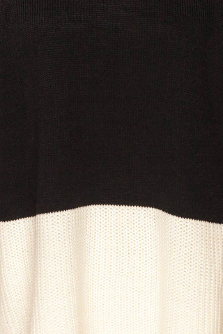 Barisci Black & White Block Knit Sweater fabric detaIl | La Petite Garçonne