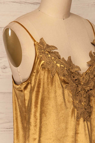 Amantea Moutarde Gold Camisole | Velours | La Petite Garçonne side close-up