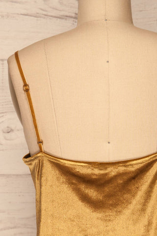 Amantea Moutarde Gold Camisole | Velours | La Petite Garçonne back close-up