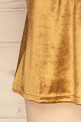 Amantea Moutarde Gold Camisole | Velours | La Petite Garçonne bottom close-up