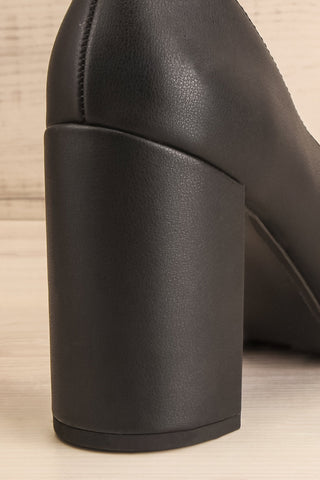 Amari Black Matt & Nat Block High Heels back close-up | La Petite Garçonne