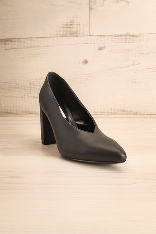 Amari Black Matt & Nat Block High Heels front view | La Petite Garçonne