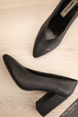 Amari Black Matt & Nat Block High Heels flat lay | La Petite Garçonne