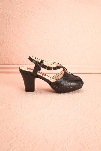 Amboise Noir Black Retro High Heel Sandals | Boutique 1861