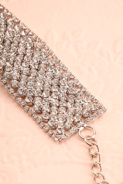 Amicie Silver Crystal Studded Choker Necklace | Boutique 1861 flat close-up
