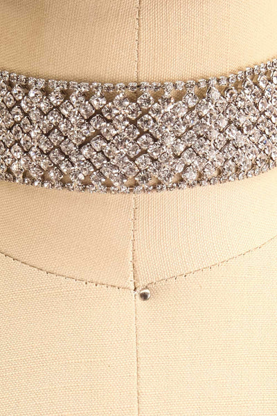 Amicie Silver Crystal Studded Choker Necklace | Boutique 1861 close-up