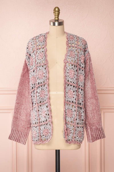 Ampelle Pink Chenille Cardigan | Cardigan Rose front view | Boutique 1861