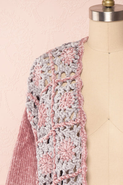 Ampelle Pink Chenille Cardigan | Cardigan Rose front close up | Boutique 1861