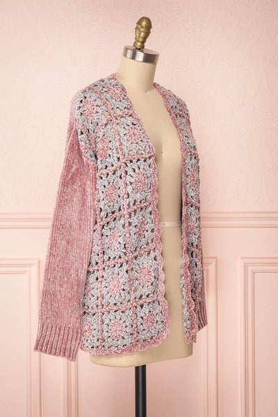 Ampelle Pink Chenille Cardigan | Cardigan Rose side view | Boutique 1861
