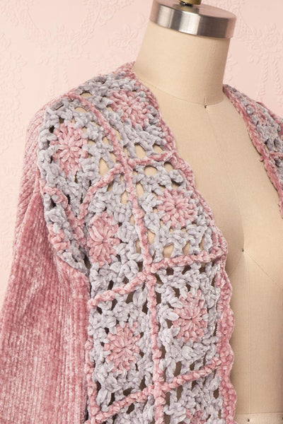Ampelle Pink Chenille Cardigan | Cardigan Rose side close up | Boutique 1861