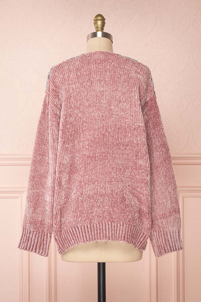 Ampelle Pink Chenille Cardigan | Cardigan Rose back view | Boutique 1861