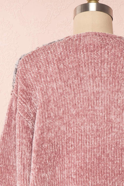 Ampelle Pink Chenille Cardigan | Cardigan Rose back close up | Boutique 1861