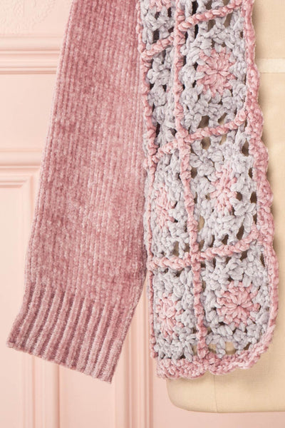 Ampelle Pink Chenille Cardigan | Cardigan Rose sleeve close up | Boutique 1861