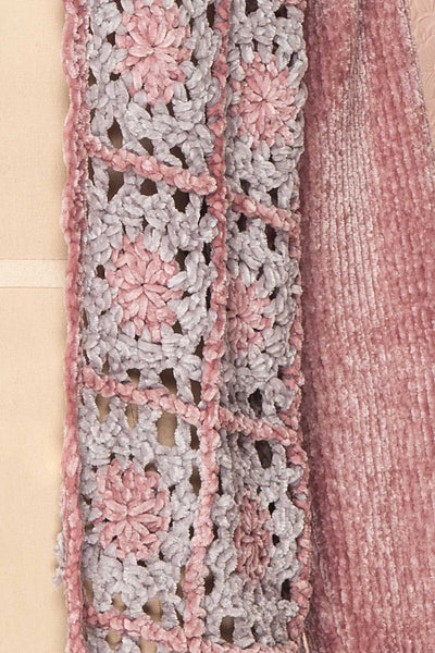 Ampelle Pink Chenille Cardigan | Cardigan Rose fabric close up | Boutique 1861