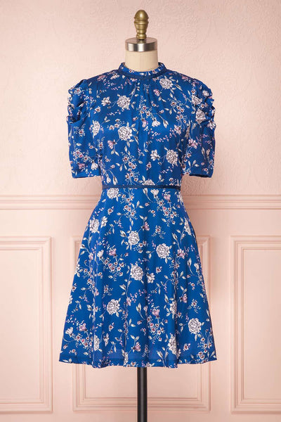 Anaelle Midnight Blue Floral Silky Cocktail Dress | Boutique 1861