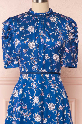 Anaelle Midnight Blue Floral Silky Cocktail Dress | FRONT CLOSE UP | Boutique 1861