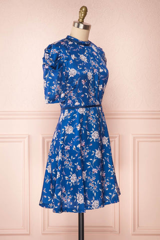Anaelle Midnight Blue Floral Silky Cocktail Dress  | SIDE VIEW | Boutique 1861