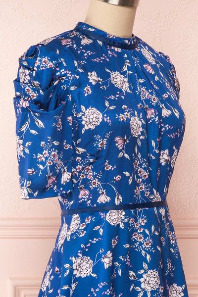 Anaelle Midnight Blue Floral Silky Cocktail Dress  | SIDE CLOSE UP | Boutique 1861