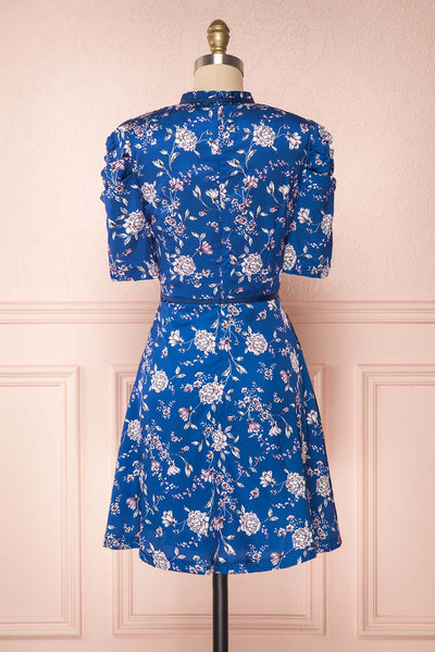 Anaelle Midnight Blue Floral Silky Cocktail Dress  | BACK VIEW | Boutique 1861