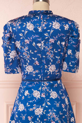 Anaelle Midnight Blue Floral Silky Cocktail Dress | BACK CLOSE UP | Boutique 1861