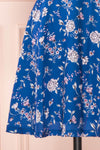 Anaelle Midnight Blue Floral Silky Cocktail Dress | BOTTOM CLOSE UP | Boutique 1861